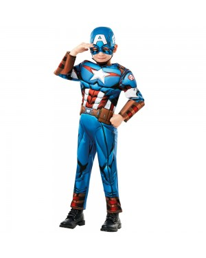 Licensed Boys Captain America Costume Front View at Fancy Dress and Party