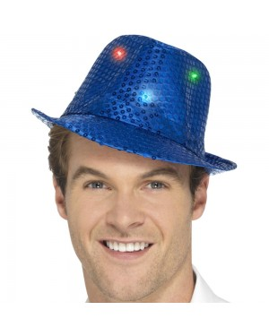 Light Up Blue Trilby Hat at Fancy Dress and Party