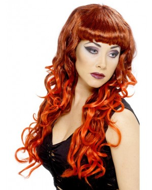 Long Curly Black & Red Wig