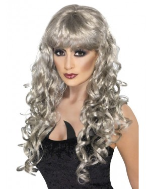 Long Curly Silver Wig