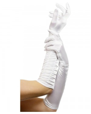 Long White Satin Gloves at Fancy Dress and Party