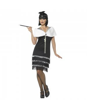 Luxury Black Flapper Dress Front View at Fancy Dress and Party