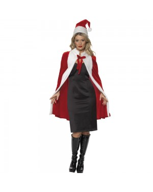Luxury Santa Cape and Hat Front View at Fancy Dress and Party