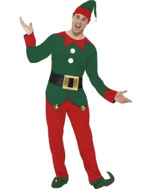 Mens Elf Costume Front at Fancy Dress and Party