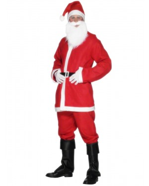 Mens Santa Claus Costume and Hat and Beard and Belt at Fancy Dress and Party