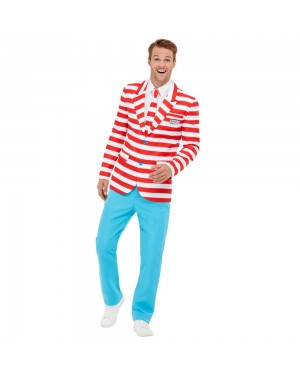 Mens Wheres Wally Costume at Fancy Dress and Party