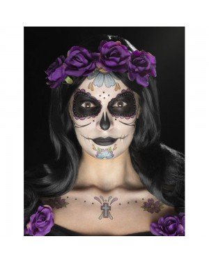 Multi Coloured Day of the Dead Tattoo Kit Final View at Fancy Dress and Party