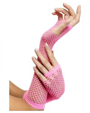 Neon Pink Fishnet Gloves at Fancy Dress and Party