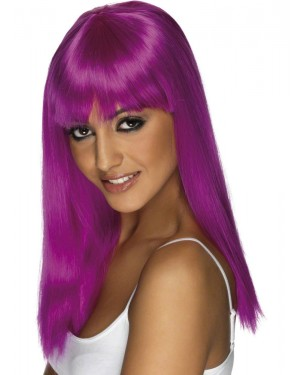 Neon Purple Wig at Fancy Dress and Party
