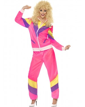 Pink 80s Shell Suit Front View at Fancy Dress and Party