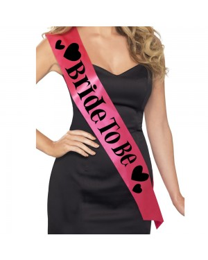 Pink Bride to Be Sash at Fancy Dress and Party