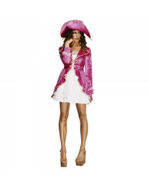 Pink Fever Pirate Costume Front View at Fancy Dress and Party