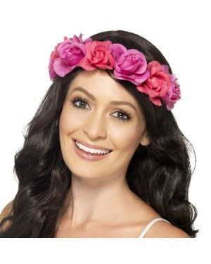 Pink Floral Headband at Fancy Dress and Party