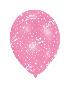 Pink Just Married Latex Balloons at Fancy Dress and Party
