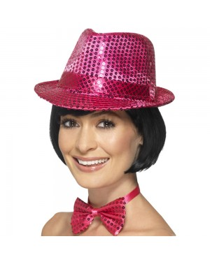Pink Sequin Trilby Hat at Fancy Dress and Party