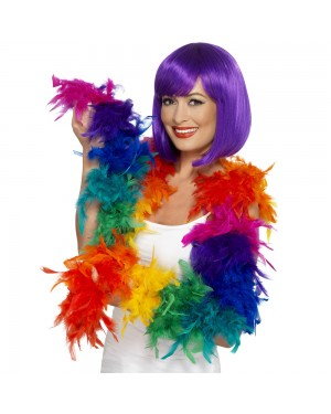 Rainbow Feather Boa at Fancy Dress and Party