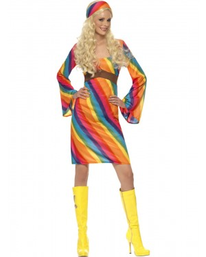 Rainbow Hippie Costume Front View at Fancy Dress and Party
