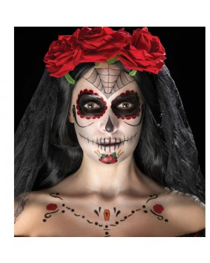 Red and Black Day of the Dead Tattoo Kit Final View at Fancy Dress and Party