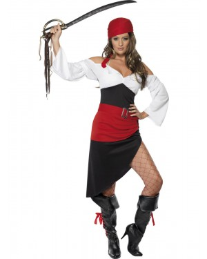 Red Pirate Costume Front View at Fancy Dress and Party