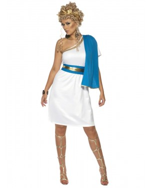 Roman Blue Toga Costume Front at Fancy Dress and Party