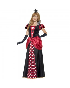 Royal Red Queen Costume Front View at Fancy Dress and Party