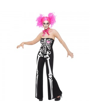 Sassy Skeleton Costume Front View at Fancy Dress and Party