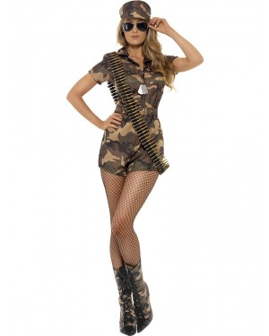 Sexy Army Costume Front View at Fancy Dress and Party