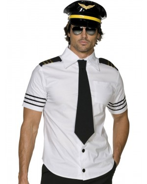 Sexy Pilot Costume Front View at Fancy Dress and Party