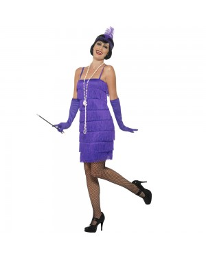 Short Purple Flapper Dress Front View at Fancy Dress and Party