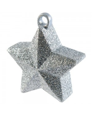 Silver Glitter Star Balloon Weight at Fancy Dress and Party