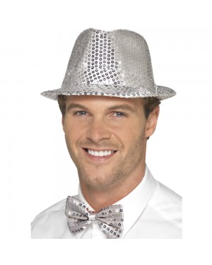 Silver Sequin Trilby Hat at Fancy Dress and Party