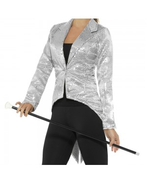 Silver Womens Tailcoat Front View at Fancy Dress and Party