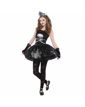 Teens Zomberina Skeleton Costume at Fancy Dress and Party