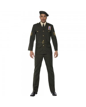 Wartime Army Costume Front View at Fancy Dress and Party