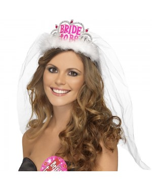 White Bride to Be Tiara at Fancy Dress and Party