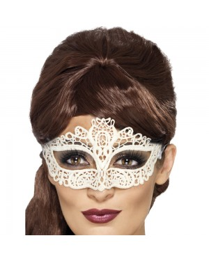 White Emrboidered Lace Filigree Eyemask at Fancy Dress and Party