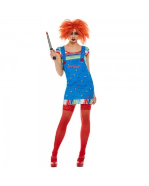 Womens Chucky Costume Front View at Fancy Dress and Party