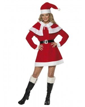 Womens Sexy Miss Santa Costume Front at Fancy Dress and Party