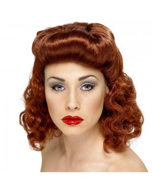 1940s Auburn Pin Up Wig Front View at Fancy Dress and Party