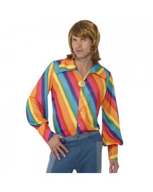 1970s Rainbow Colour Shirt at Fancy Dress and Party