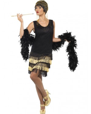 20s Black and Gold Flapper Dress Front at Fancy Dress and Party