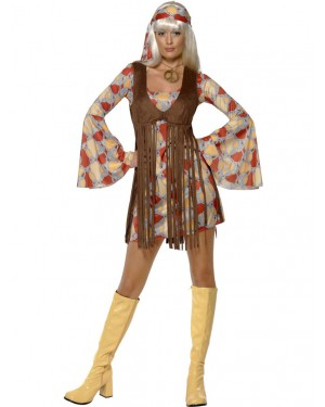 60s Groovy Hippie Outfit Front at Fancy Dress and Party