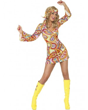 60s Paisley Hippie Outfit Front at Fancy Dress and Party