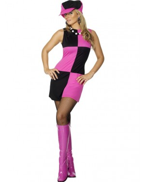 70s Black and Pink Mod Costume at Fancy Dress and Party