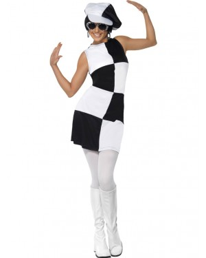 70s Black and White Mod Outfit Front at Fancy Dress and Party