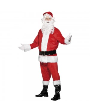 Adults Velour Santa Costume at Fancy Dress and Party