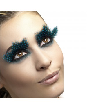 Aqua Dot Feather Eyelashes at Fancy Dress and Party