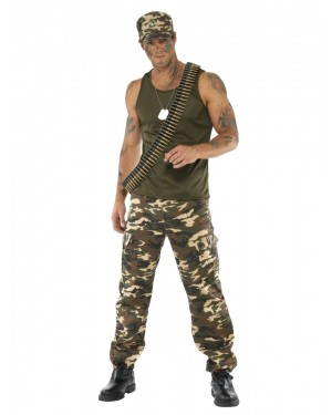 Army Soldier Costume Front at Fancy Dress and Party