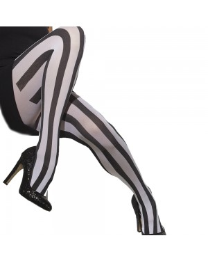 Black and White Striped Tights at Fancy Dress and Party