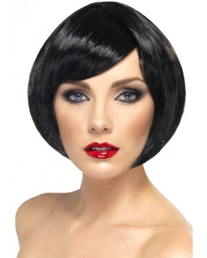Black Bob Wig at Fancy Dress and Party